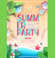 summer cocktail beach party poster top view vector image vector image