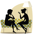 Talking women on the sofa vector image vector image