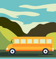 time to travel flat yellow bus goes on the vector image vector image