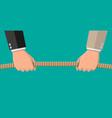 tug war two businessmen pulling rope vector image