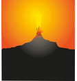 volcano eruption with hot lava vector image vector image