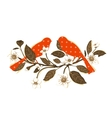 White Flowers and Red Birds on Twig Composition vector image