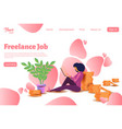 woman freelancer character template for website vector image