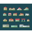 Set of flat design buildings pictograms vector image