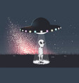 alien was teleports from flying saucer to earth vector image