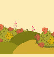 autumn landscape hills bushes nature foliage vector image