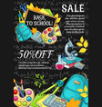 back to school autumn sale sketch poster vector image vector image