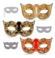 carnival masks gold red and black mask decorated vector image
