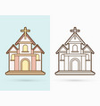 christian church with cross building cartoon vector image vector image