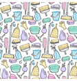 cleaning tools doodle seamless pattern vector image vector image