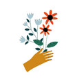 female hand holding bouquet wild flowers vector image