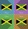 Flags Jamaica Set of colors flat design and long vector image