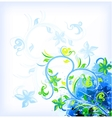 Floral blue on grunge background vector image vector image