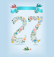 floral number twenty seven with ribbon and birds vector image vector image