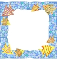 Frame with colorful cartoon fishes vector image