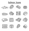 fresh salmon fish icon set in thin line style vector image