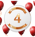 Golden number four years anniversary celebration vector image vector image