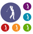 golf player icons set vector image vector image