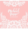 Greeting card with flower lace white vector image