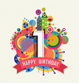 happy birthday 1 year greeting card poster color vector image vector image