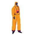 hazmat suit with respirator protective suit vector image