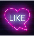 neon sign like in speech bubble frame on dark vector image vector image