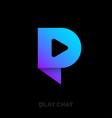 p monogram logo chat monogram play symbol vector image