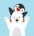 panguin riding on polar bear vector image vector image