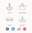paper boat anchor and glasses icons vector image vector image