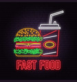 retro neon burger and cola sign on brick wall vector image vector image