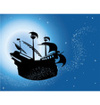 Sailing vessel in night sky vector image