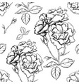 seamless background with sketch style flowers vector image vector image
