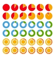 set brightly colored pie charts vector image