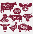 set butchery logo label emblem poster vector image