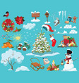 set christmas elements a collection cartoon vector image vector image
