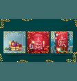 set christmas square greeting cards with pile vector image