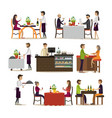 set of pub and restaurant people icons vector image vector image