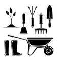 silhouette of garden and landscaping tools vector image vector image