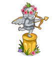 statue little cupid with wings and golden bow vector image