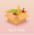 time to donate food donation boxes full of food vector image vector image