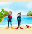 two scuba divers in wetsuit standing on beach vector image