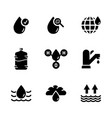 water icon set in flat style symbol vector image vector image