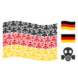 waving germany flag mosaic of gas mask icons vector image