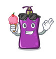 with ice cream shampo character cartoon style vector image