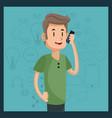 young man talking smartphone media green vector image