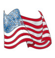drawing united states of america flag wave vector image