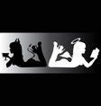 angel and devil good and bad silhouette vector image