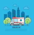 ambulance car in thin line style megapolis vector image