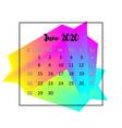 2020 calendar design abstract concept june 2020 vector image vector image