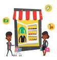 african man and woman using mobile shopping vector image vector image